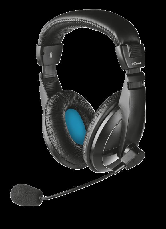 Наушники с микрофоном Trust Quasar Headset for PC and laptop Black (21661), гарнитура