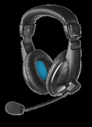 Наушники с микрофоном Trust Quasar Headset for PC and laptop Black (21661), гарнитура, фото 2