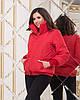 Жіноча весняна куртка з високим теплим коміром і довгими манжетами з в'язки, фото 3