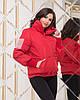 Жіноча весняна куртка з високим теплим коміром і довгими манжетами з в'язки, фото 6