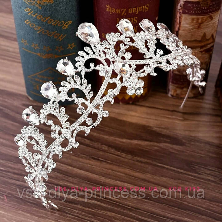 Диадема,  корона под серебро, тиара, высота 6 см.