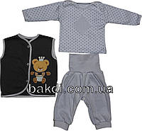 Детский костюм рост 62 (2-3 мес.) интерлок сиреневый на мальчика (комплект на выписку) для новорожденных С-365