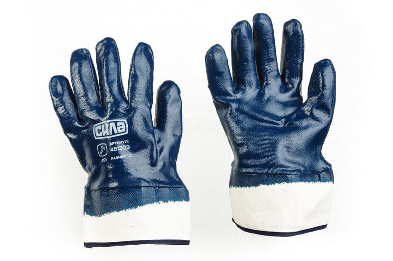 Перчатки c нитриловым покрытием р10 (синие краги с хеддером) СИЛА