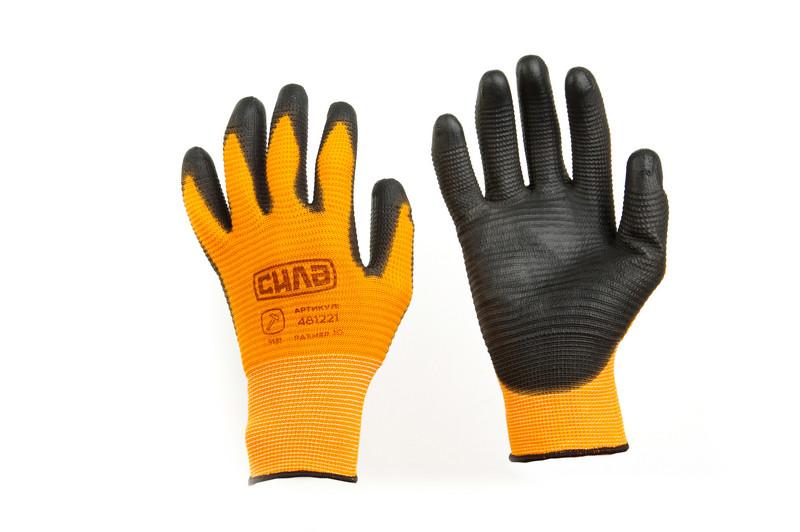 Перчатки рабочие с ПУ покрытием р10 (оранжевый + черный манжет) СИЛА