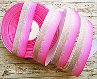 Стрічка репсова 25мм з візерунком №239 (рожева+срібний глітер)