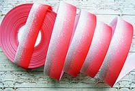 Стрічка репсова 25мм з візерунком №240 (червона+срібний глітер)