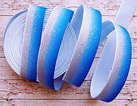 Стрічка репсова 25мм з візерунком №238 (темно-синя+срібний глітер)