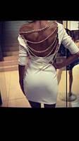 Платье-туника малиновое свободноеПлатье спина открыта, разные цепи. 3 цвета(р 42-46)