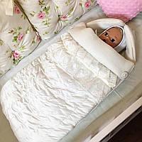 Конверт на выписку для новорожденных с кружевом и вышивкой