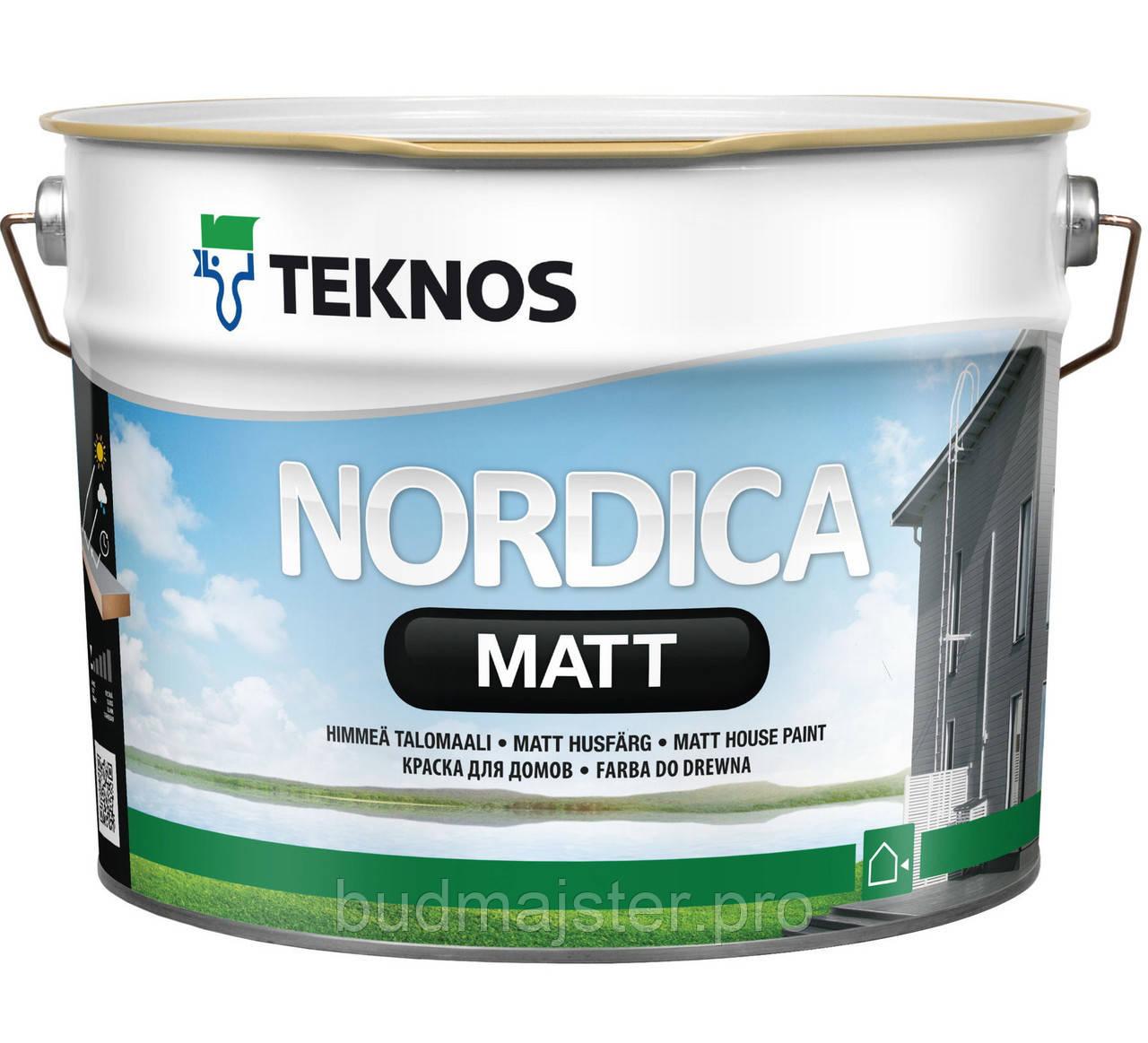 Фарба TEKNOS Нордіка мат для дерев'яних поверхонь, 0,9 л