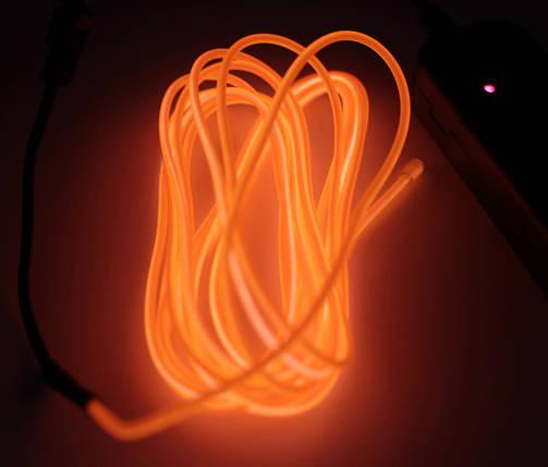 Холодный Неон Гибкая Неоновая Трубка Светящийся Шнур Светопровод 3м Комплект с Инвентором (Flex Neon Orange), фото 2