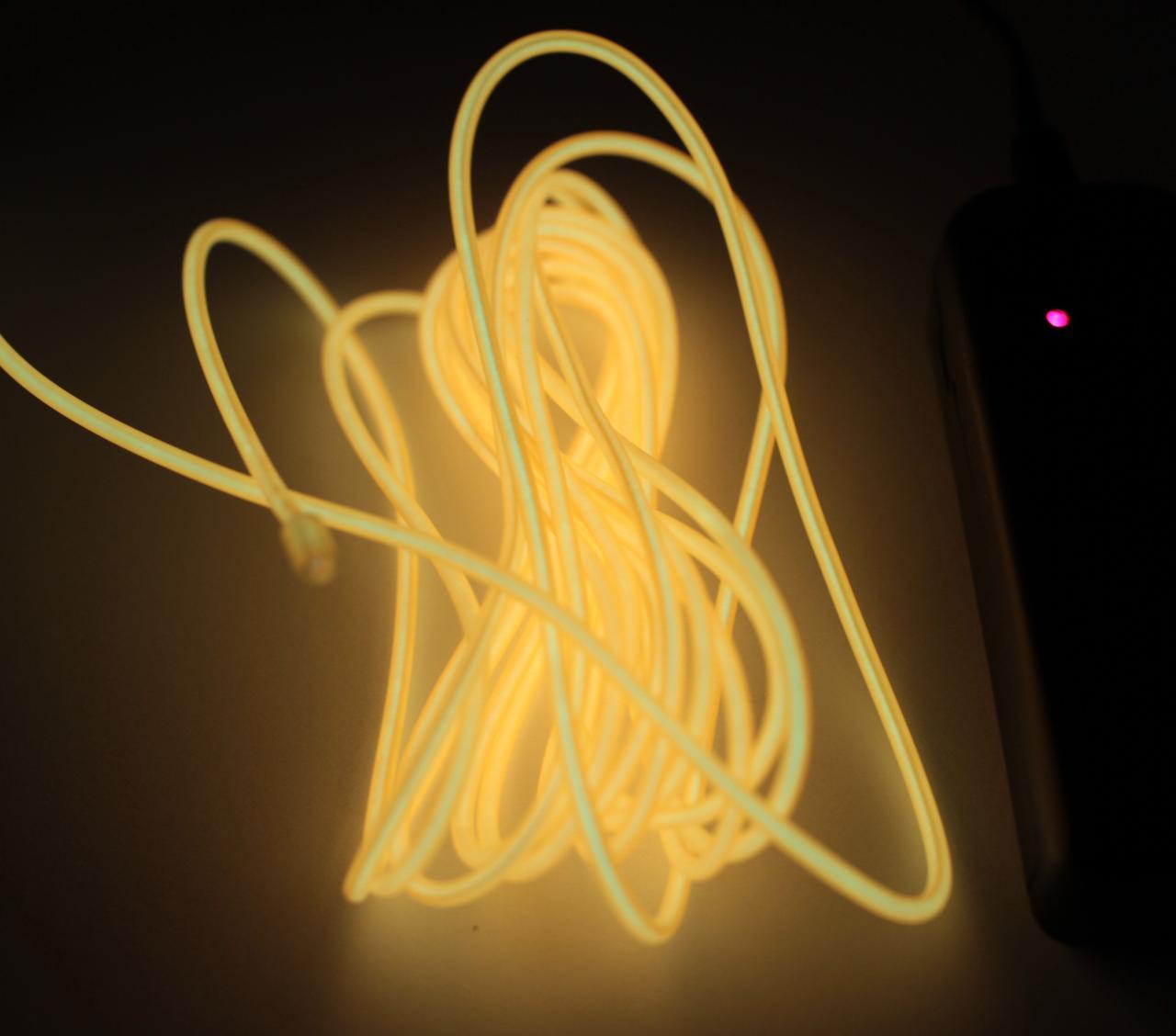 Холодный Неон Гибкая Неоновая Трубка Светящийся Шнур Светопровод 3м Комплект с Инвентором (Flex Neon Yellow)