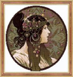 Набор для вышивания крестом с бисером женщина