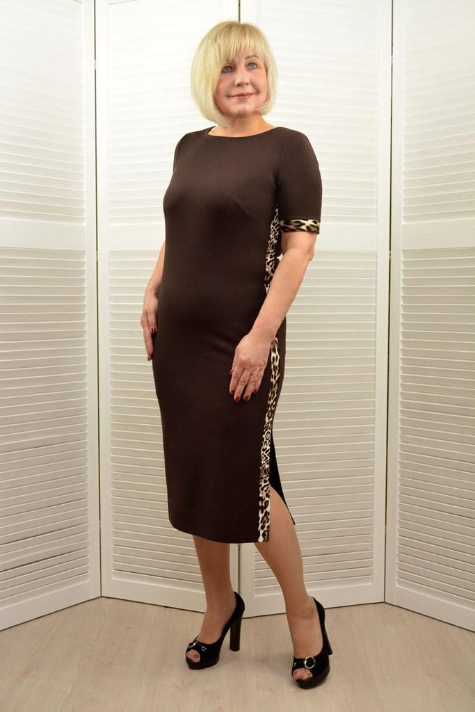 Платье шоколадное  - Модель 1743п