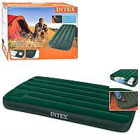 Надувной матрас Intex 66950, со встроен ножным насосом, 193-76-22см, велюр