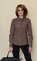 Коричневая классическая женсккая блуза с длинным рукавом