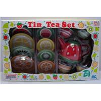 Оригинал. Детский жестяной чайный сервиз Фрукты 15 предметов