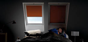 Штора VELUX DKL блекаут затемнююча на направляючих для мансардні вікон штори Велюкс рулонна штора блекаут