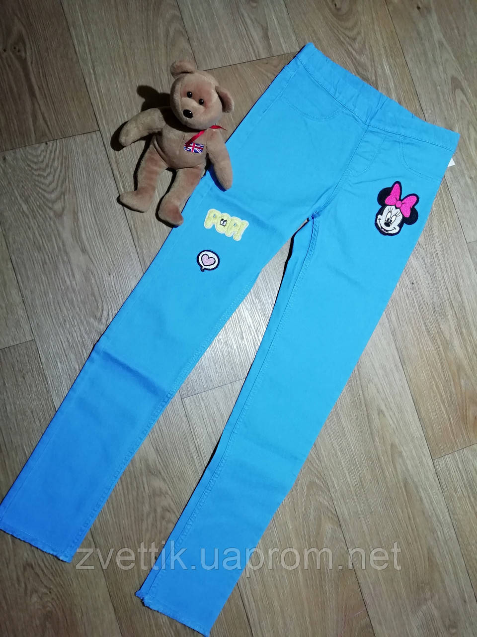 Ярко голубые стрейчевые джеггинсы с аппликацией Минни (Размер 9-10Т) H&M (Англия)