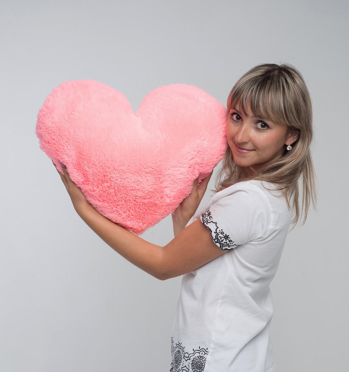Сердце подушка розовая 50 см
