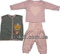 Детский костюм рост 62 2-3 мес интерлок розовый костюмчик на девочку комплект на выписку для новорожденных малышей Р365