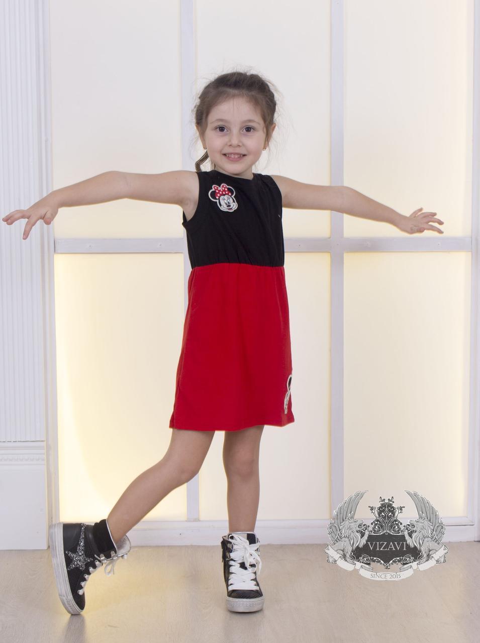 Легке гарне дитяче плаття для дівчинки літній з нашивками Мінні Маус