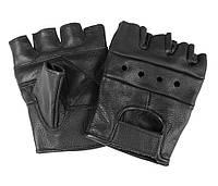 Перчатки кожаные беспалые (чёрные)
