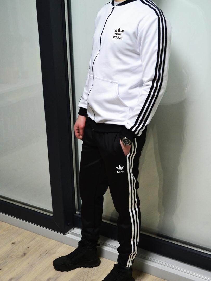 4aadf8ab Мужской спортивный костюм ADIDAS (белый с чёрным - классик) - SUNVEL STORE  в Киеве