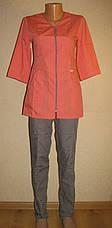 Медицинский костюм женский на молнии 22108 ( батист 42-60 р-ры ), фото 2