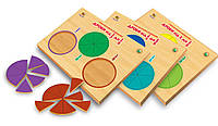 Дерев'яні рамки-вкладиші Дроби набір 3 шт від 1 до 1/9 (укр), Вундеркинд (ДР-026)
