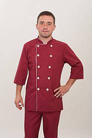 Мужской костюм повара бордового цвета 2289  ( батист 40-56 р-р )