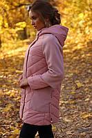Демисезонная женская куртка-пальто, микс кашемира и плащевки, ТМ Nui Very