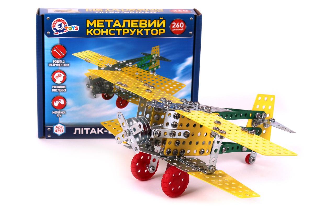 """Металлический Конструктор ТехноК """"Самолёт Биплан"""" 4791"""