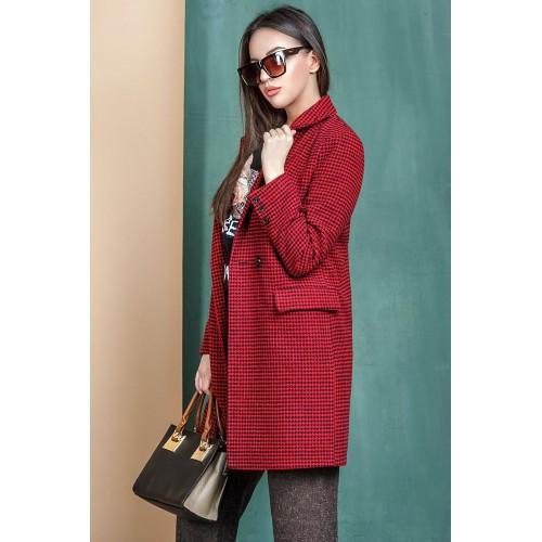 Женское пальто  размер 42 - 48 цвет бордовый