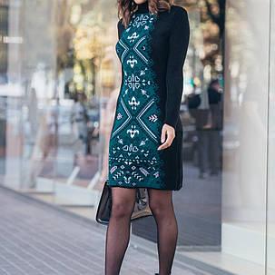Платье под горло вязаное теплое шерстяное женское осень/зима S M L, фото 2