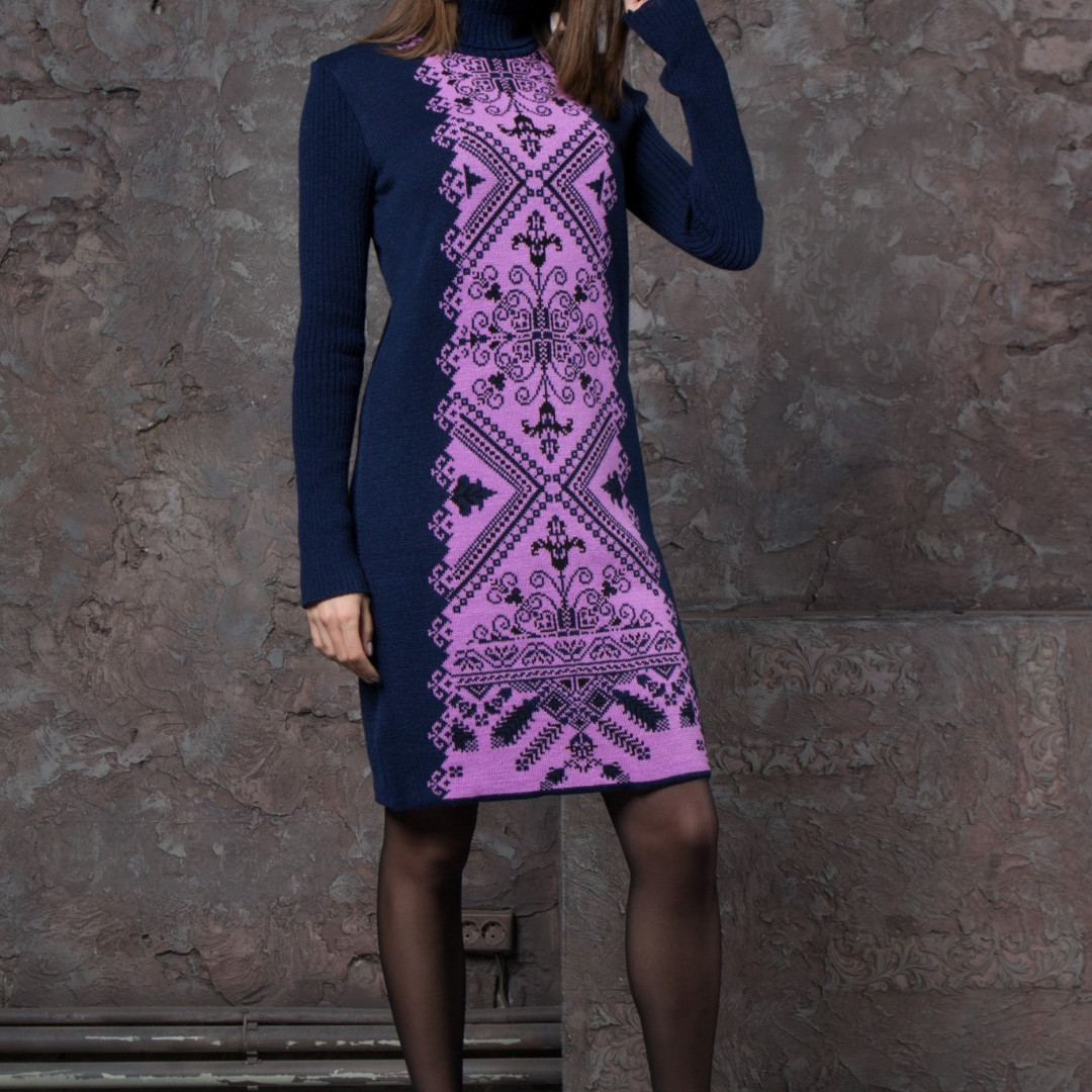 Платье под горло вязаное теплое шерстяное женское осень/зима S M L