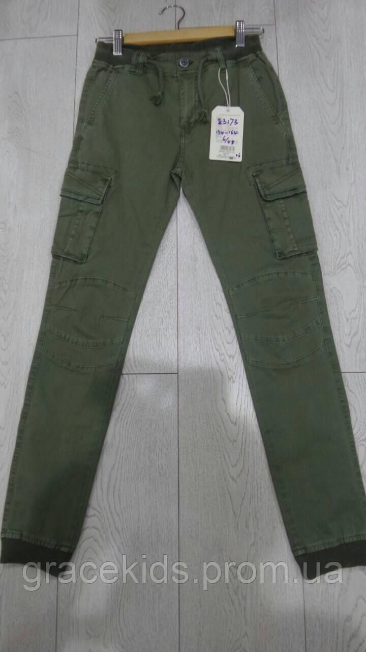 Котоновые брюки джоггеры хаки для мальчиков с накладными карманами,разм 134-164 см