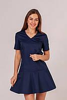 """Медицинское платье """"Аврил"""". Темно-синий. Рукав короткий. Саталь"""