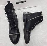 Женские черные кожаные ботинки на шнуровке со вставками из питона и молниями, фото 2