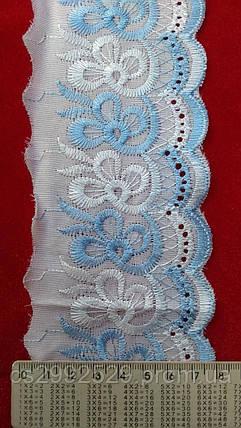 Прошва вышитая 9 метров.Вышивка батист белая+голубой., фото 2