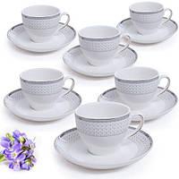 Сервиз кофейный HH1603098, в наборе 12пр (6 чашек 150мл, 6 блюдец 14см), фарфор, в подарочной коробке, набор чашек, фарфоровый сервиз