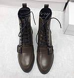 Женские ботинки из кожи на шнуровке цвета хаки, фото 2