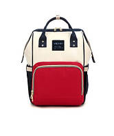 Рюкзак-сумка органайзер Baby-mo для мам красно-белая