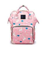 Рюкзак-сумка органайзер Baby-mo для мам единорог на розовом