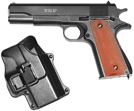 Игрушечный страйкбольный пистолет Galaxy G.13+ Colt 1911 Кольт 1911 black с кобурой