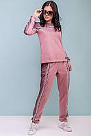 Замшевый спортивный костюм 44-50 размера розовый, фото 1
