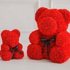 Мишка из латексных роз Teddy Bear 25 cм ручная работа Оригинал Красный в прозрачной упаковке