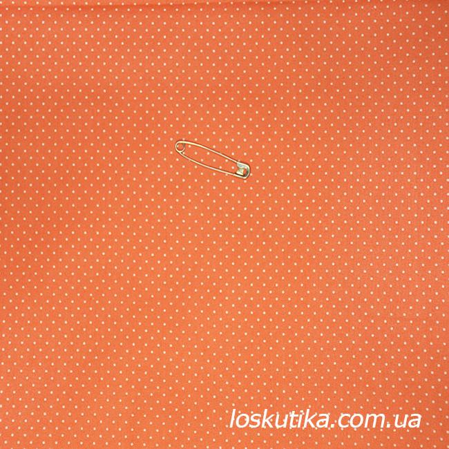 47017 Ткань в горошек на персиковом фоне. Ткани для декорирования, для кукол и лоскутного шитья.