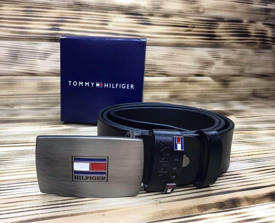 """Ремень кожаный мужской  черный """"Tommy Hilfiger"""" (реплика)"""