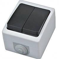 """Выключатель накладной """"ATOM"""" Horoz IP54 2-клавишный"""